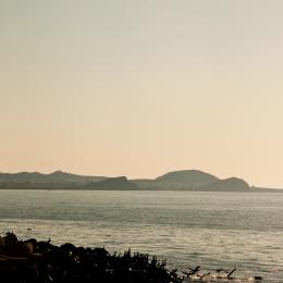 Superbe vue matinale du traversier vers l\'Île-d\'Entrée