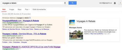 Regardez tout à droite le résultat de Google+ à même les résultats de recherche